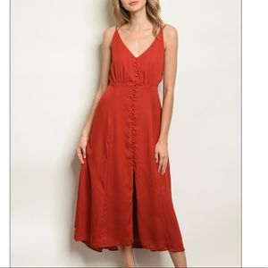 Brick red sleeveless V-neck tunic midi dress, NEW!